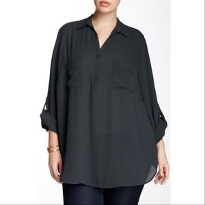 Pleione Erin Tab Sleeve Career Black Top